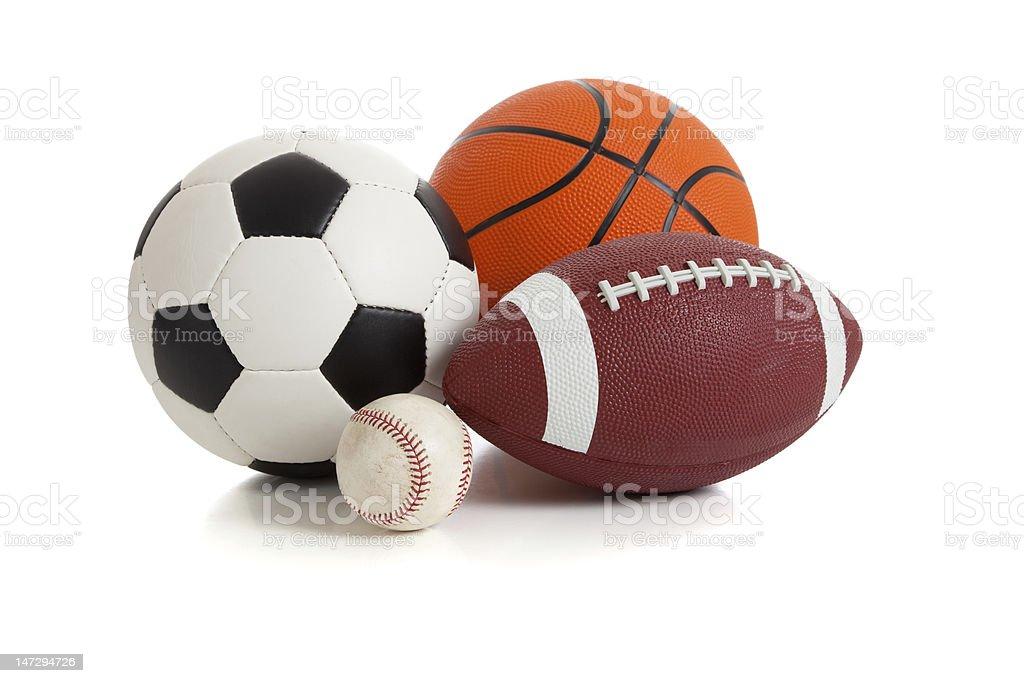 Gruppo di sport palloni su bianco - foto stock
