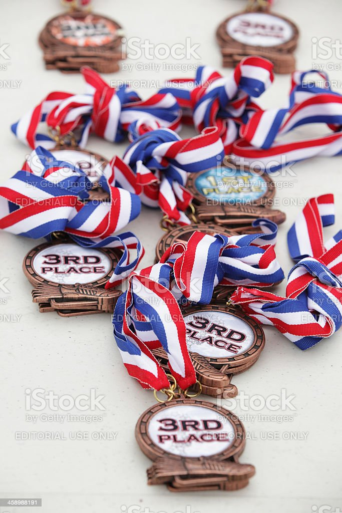 Group of sports medals ribbon awards royalty-free stock photo