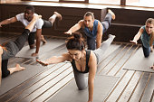 Group of young afro american and caucasian sporty people practicing yoga lesson, stretching in Bird dog exercise, Donkey pose, students working out in sport club, indoor, studio