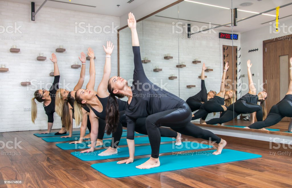 Group of sporty women exercising together in health club. stock photo