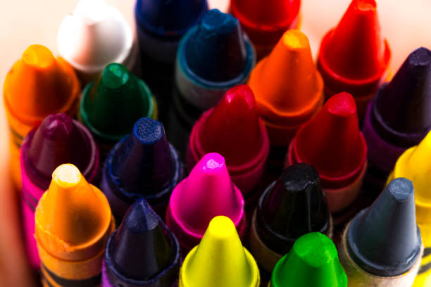 Group of Stacked Pile of Crayons Top View stock photo