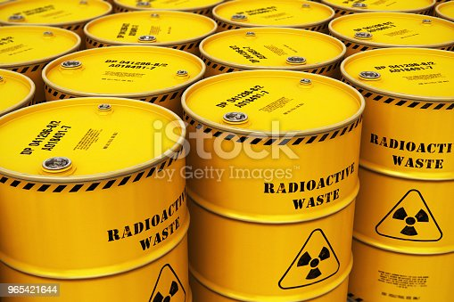 Group Of Stacked Yellow Drums With Radioactive Waste Stock Photo & More Pictures of Atom