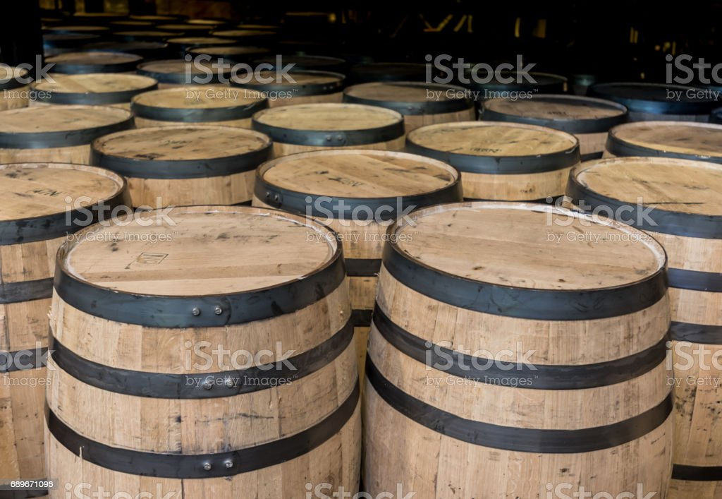 Group of Standing Bourbon Barrels stock photo