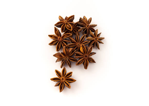 A group of Star Anise, ingredients for cooking group of star anise on white background star anise stock pictures, royalty-free photos & images