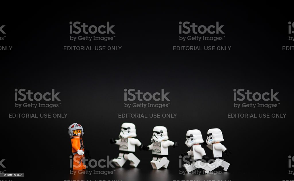 Group of Star Wars Lego Stormtroopers minifigures stock photo
