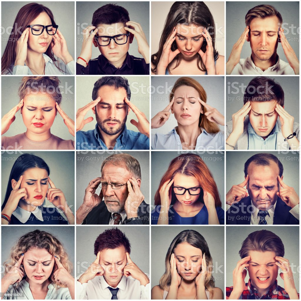 group of stressed sad people men and women having headache stock photo