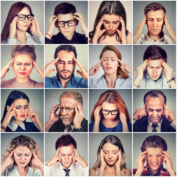 group of stressed sad people men and women having headache stock photo