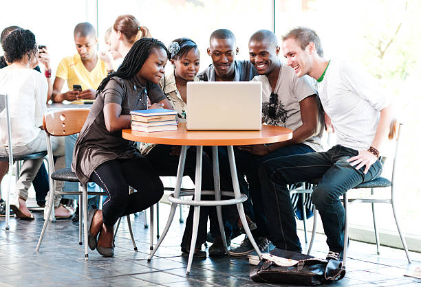 Group of students enjoying a moment stock photo