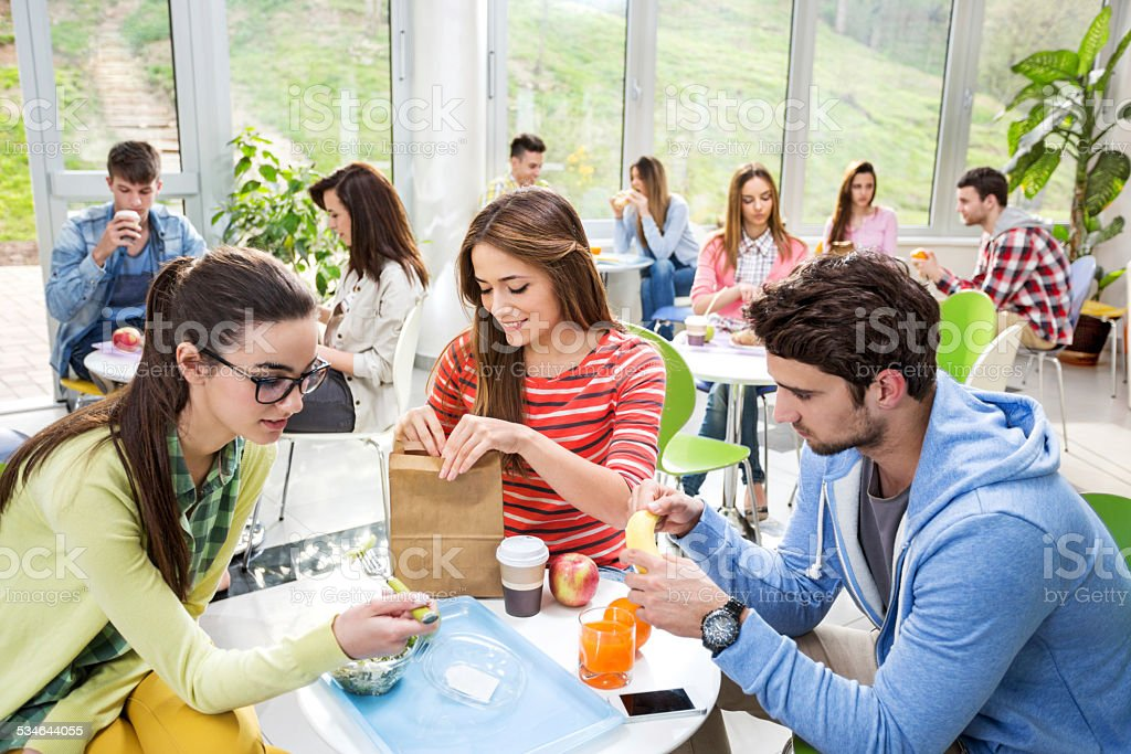 Group of students in cafeteria. stock photo