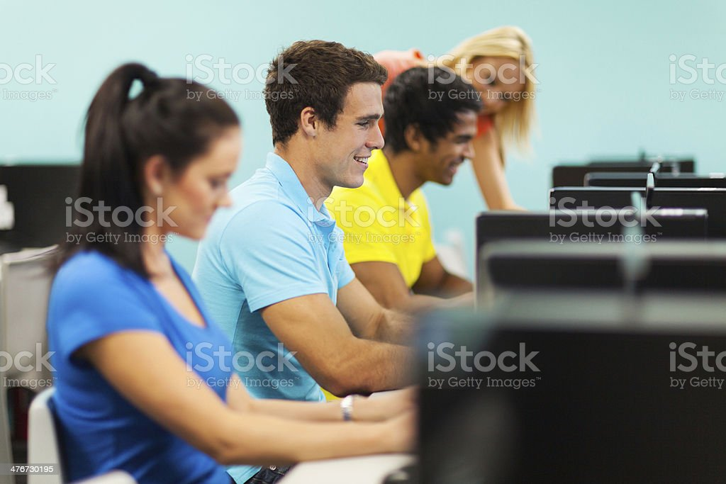 group of students in computer lab stock photo