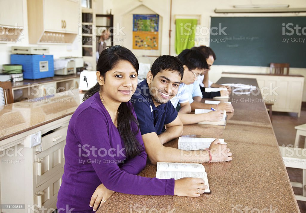 Group of students learning stock photo