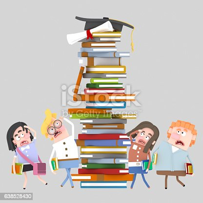 Group of Students looking worried books tower