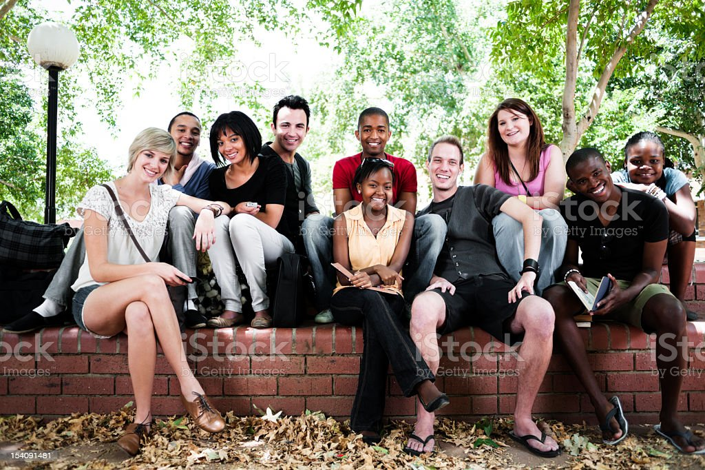 Group of students outside royalty-free stock photo
