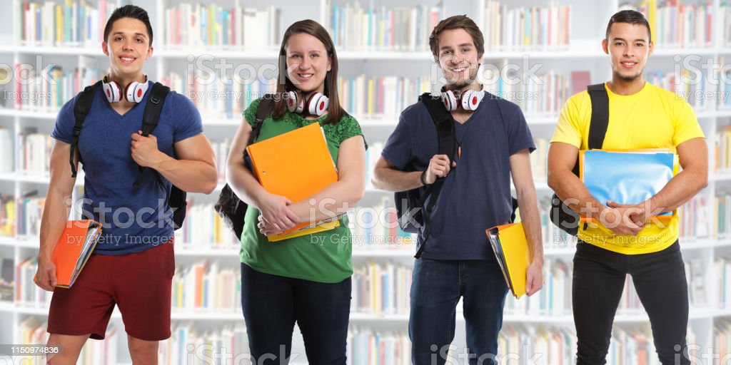 Group of students study education library banner young people city