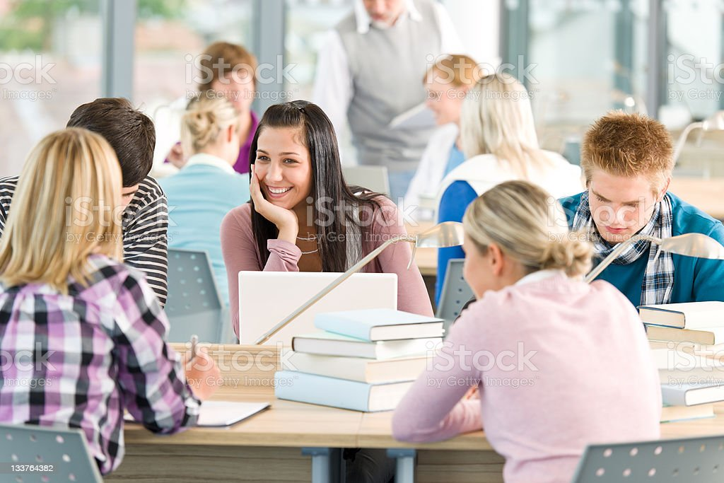 Group of students study in classroom stock photo