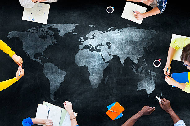 Group of Students Studying About Global Issues stock photo