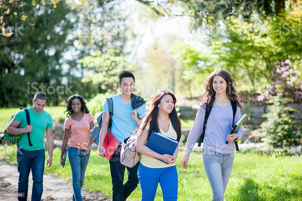 Group of Students Walking to Class stock photo