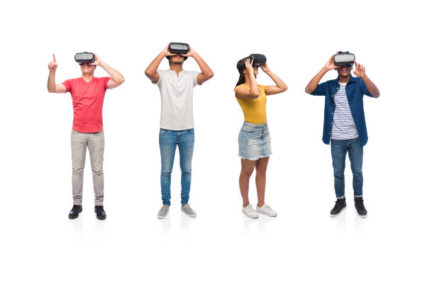 Group of students wearing virtual reality glasses stock photo