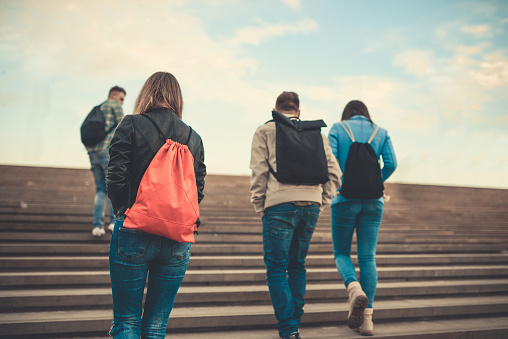 872670290 istock photo Group of Students with Backpacks Walking to School 871822748