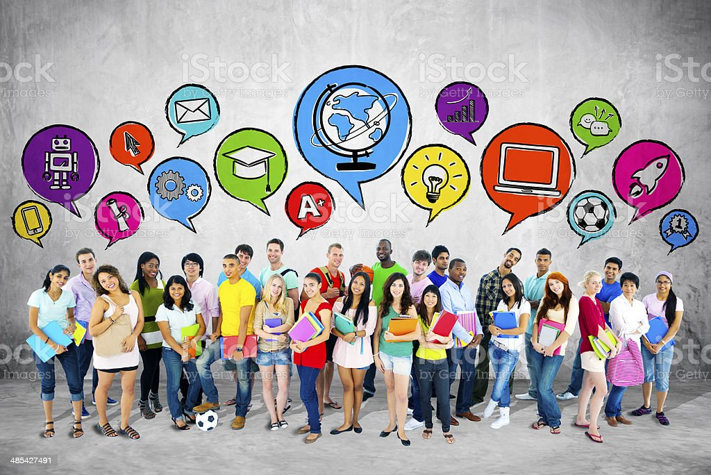 Group of Students  with Speech Bubble stock photo