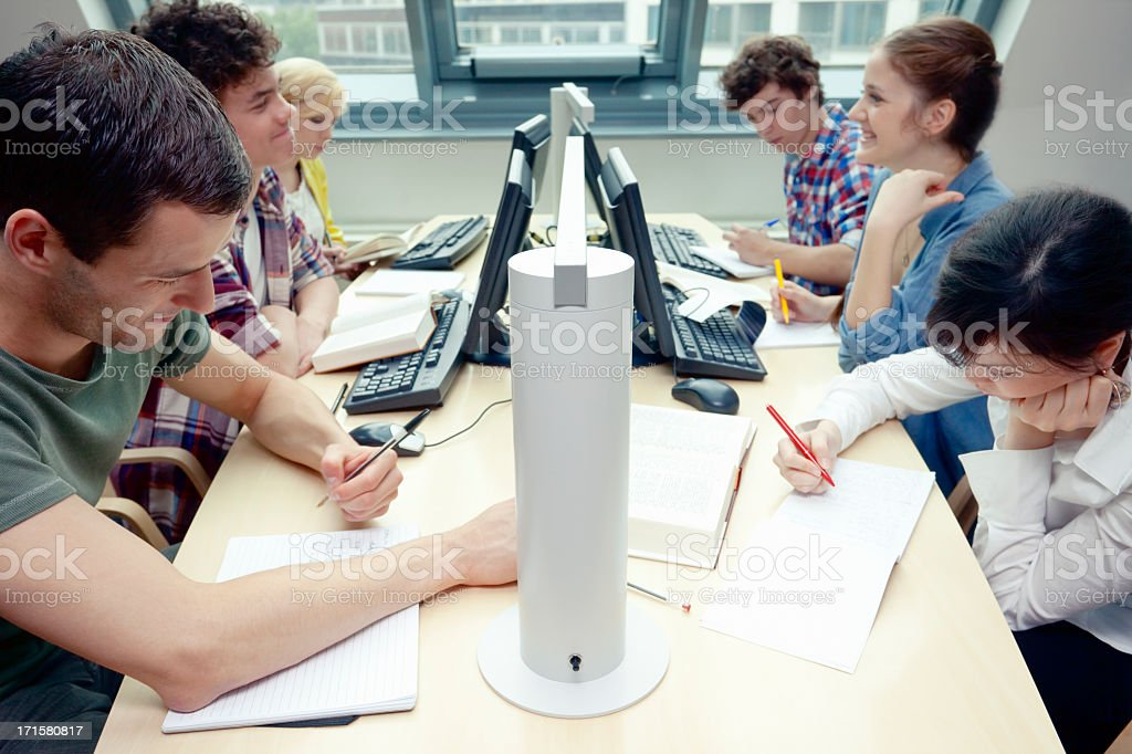 Group of Students Working in Library royalty-free stock photo