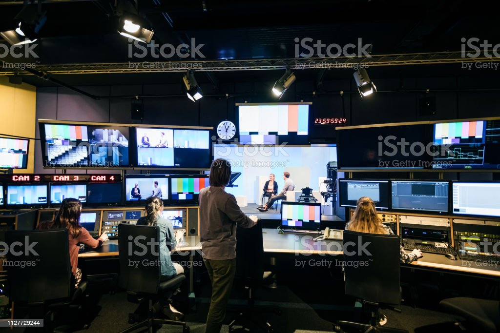 Group Of Students Working In TV Studio stock photo