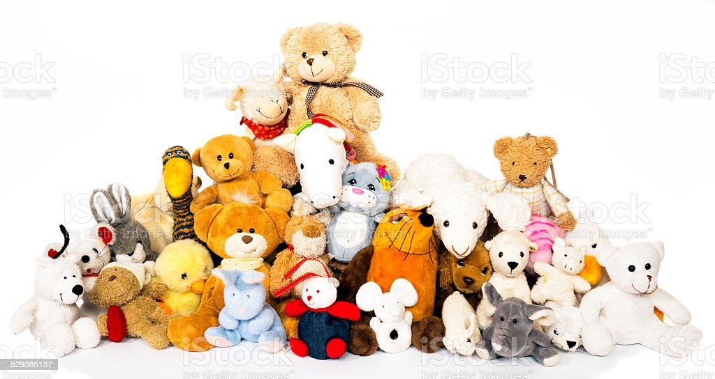 Group of stuffed animals stock photo