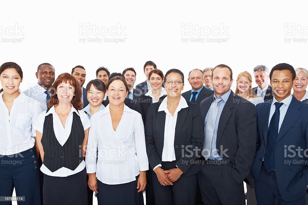Group of successful business executives standing together stock photo