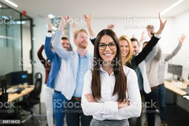 Group Of Successful Business People Happy In Office Stock Photo - Download Image Now