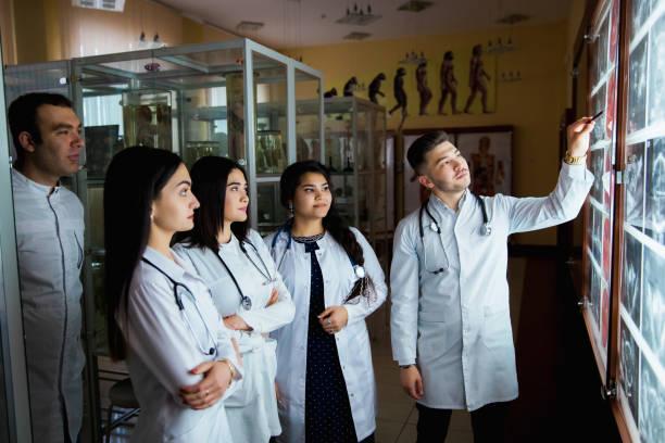 en grupp av kirurgen praktikanter studerar fosterutveckling i olika stadier av graviditeten. hälsopedagogiska konceptet. läkarstuderande i klassrummet med bilder av ultraljud - veterinär, undersökning bildbanksfoton och bilder