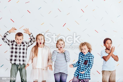 istock Group of surprised kids 656141928