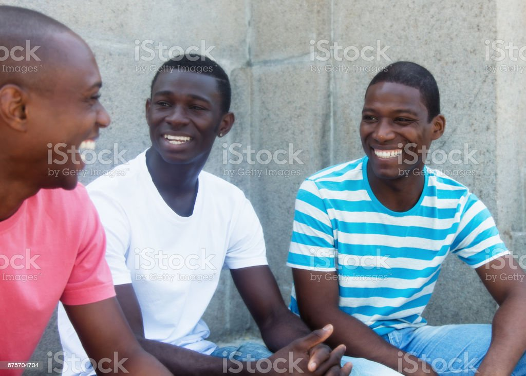 Group of talking african american refugees 免版稅 stock photo