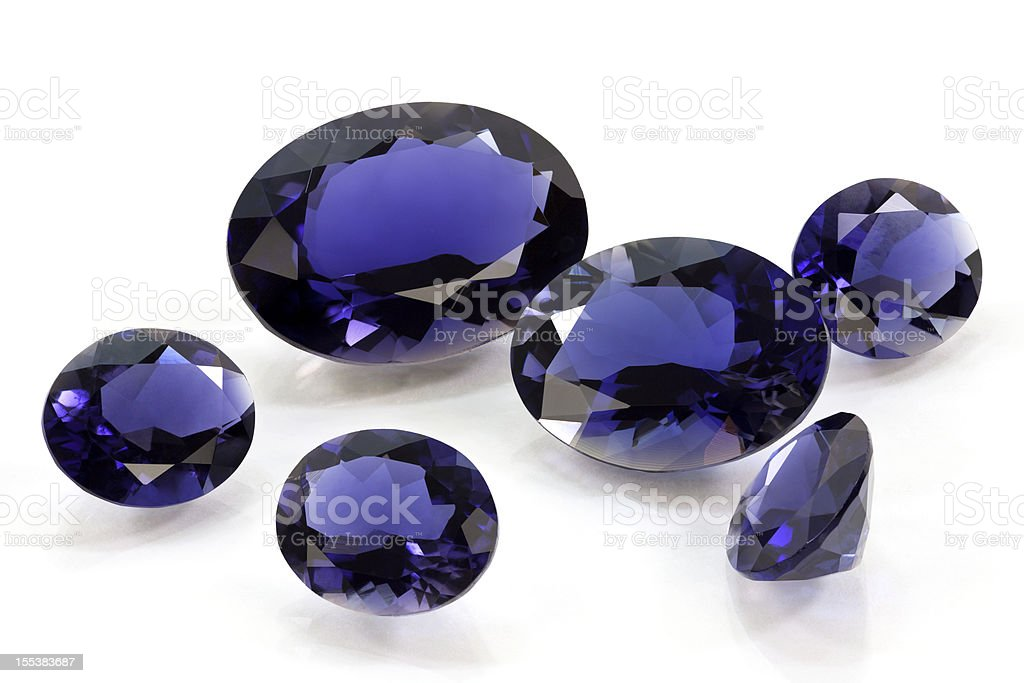 Group of Tanzanite or Sapphire and Iolite stock photo