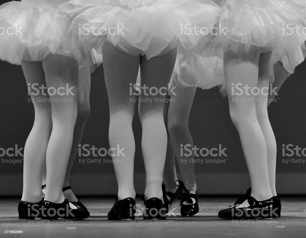 Group of tap dancers legs stock photo