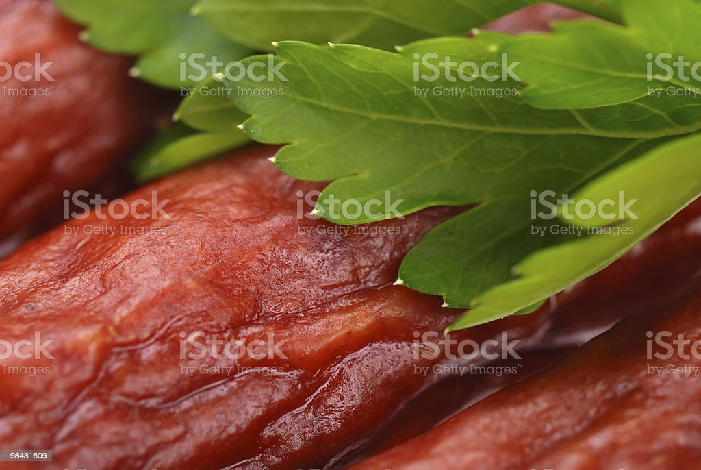 Group of tasty sausages with parsley royalty-free stock photo