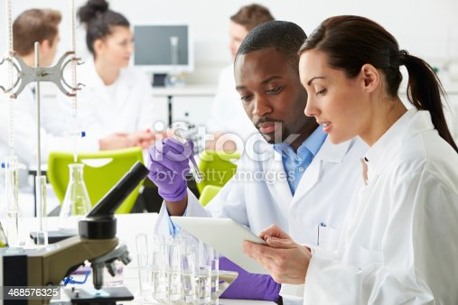 Group Of Hard Working Technicians Working In Laboratory