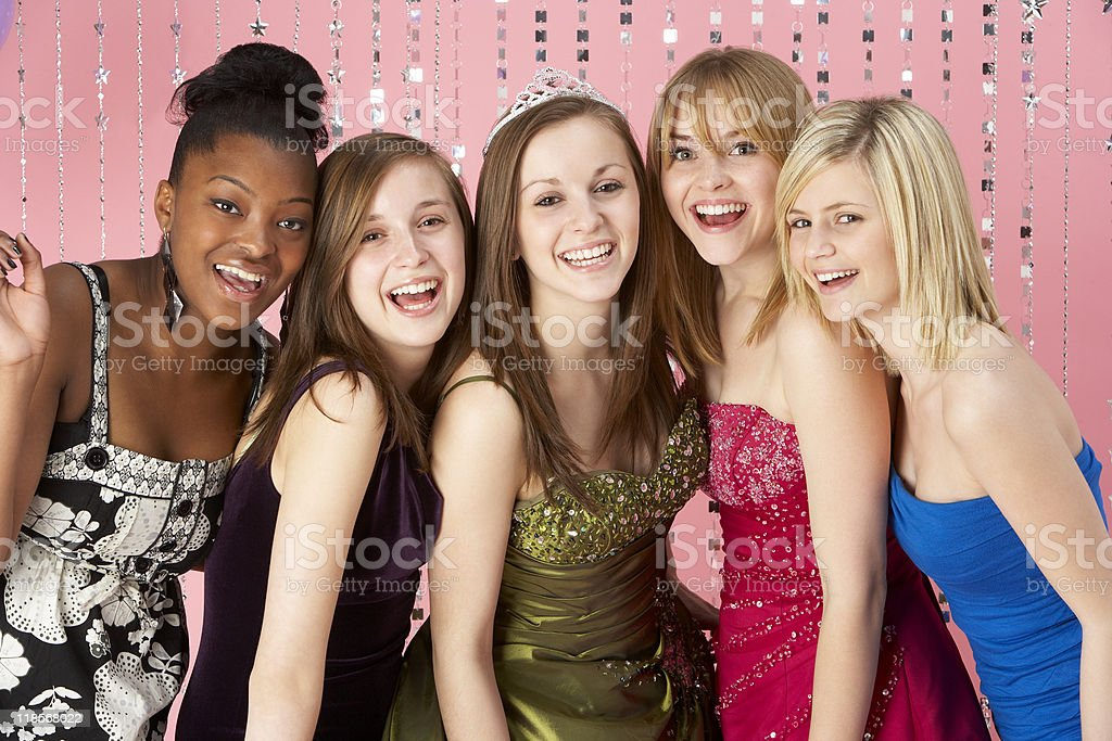 Group Of Teenage Friends Dressed For Prom stock photo
