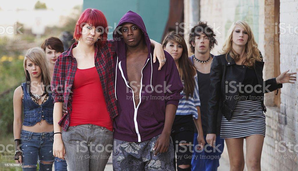 Group of teenage hippies stock photo