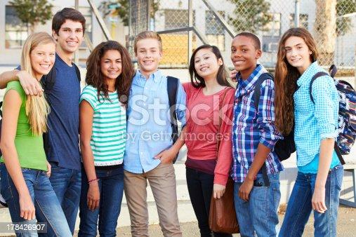 istock Group Of Teenage Pupils Outside Classroom 178426907