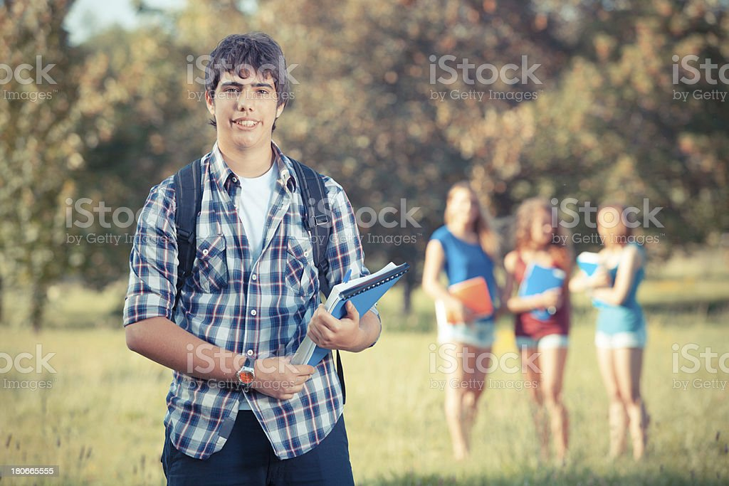 Group of Teenage Students at Park royalty-free stock photo