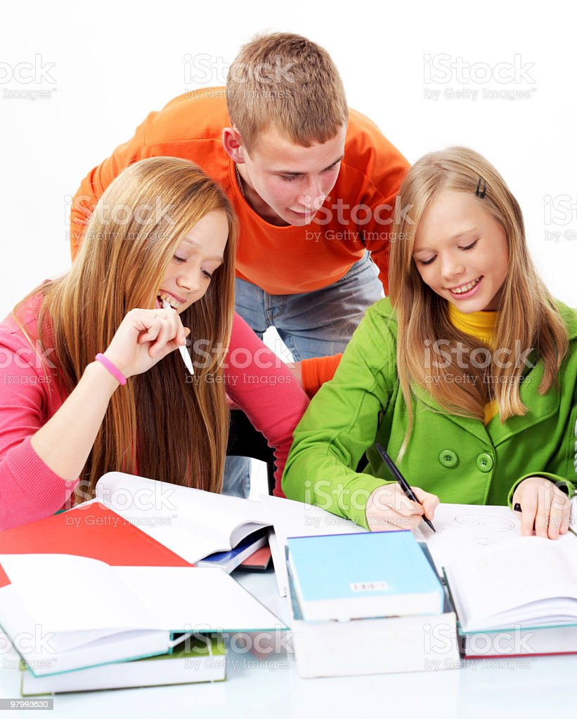 Group of teenage students studying together. royalty free stockfoto