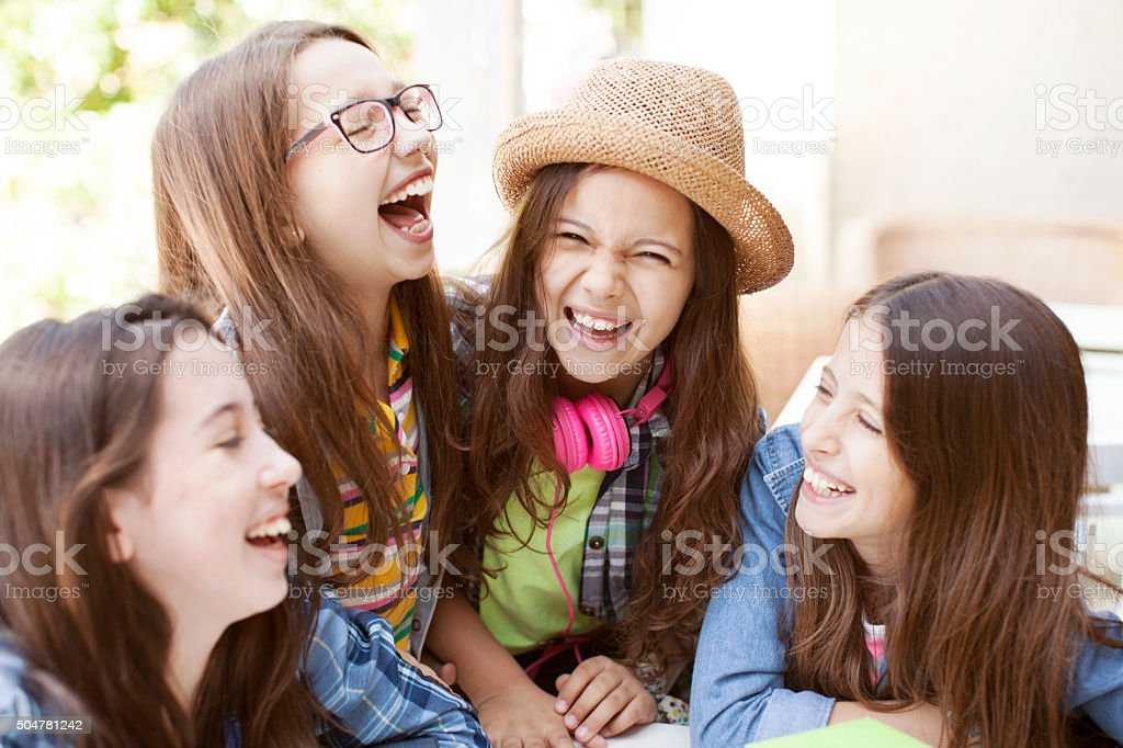 Group of teenagers having fun stock photo