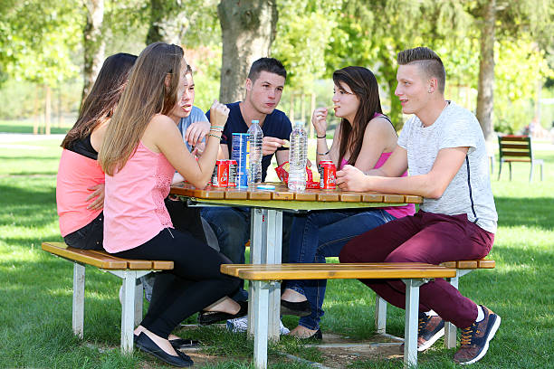 group of teenagers picnic - beautiful college girl pics stock photos and pictures