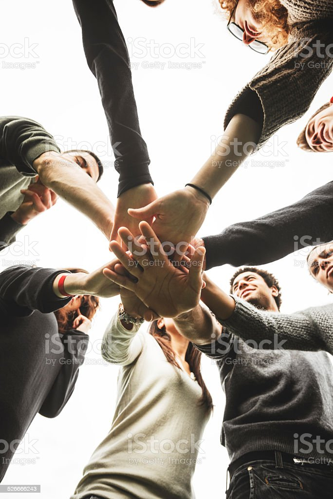 Group of teenagers volunteer stock photo