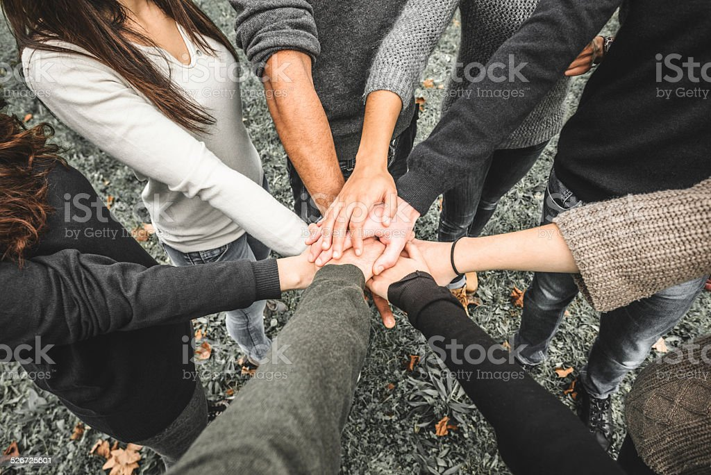 Group of teenagers volunteer stock photo