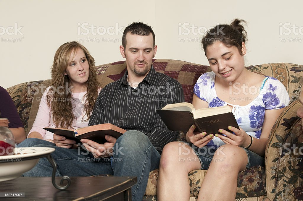 Group of Teens having a Bible Study  Series royalty-free stock photo