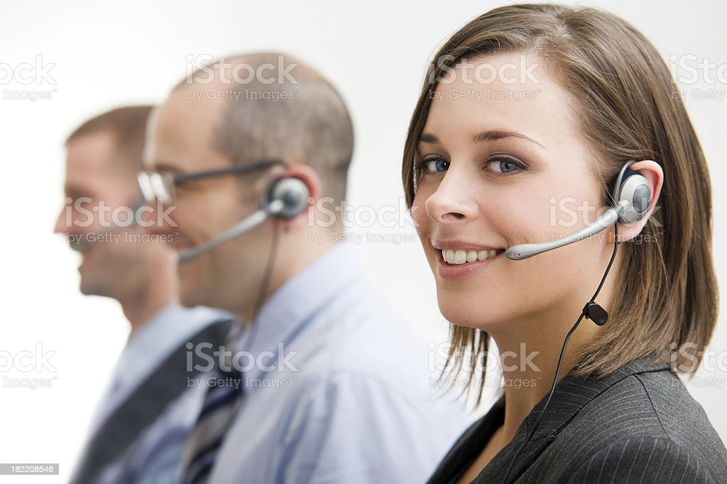 Group of Telecommunication Call Center People with Head Sets royalty-free stock photo
