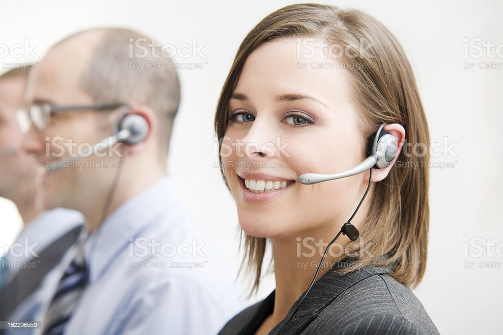 Group of Telecommunication Call Center People with Head Sets stock photo
