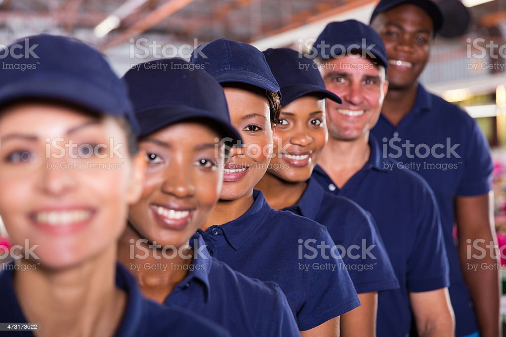 group of textile workers team stock photo
