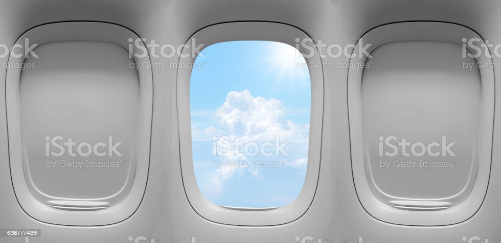 group of the airplane windows stock photo
